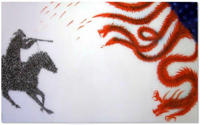 le-chevalier-et-le-dragon002c-2012002c-technique-mixte-sur-plexigass
