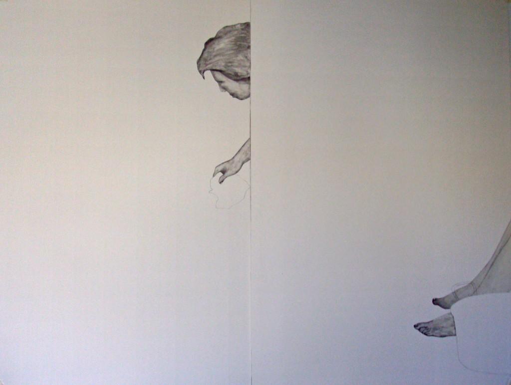 femme à la bassine, collage sur papier, 140x100cm, 2012. (1)