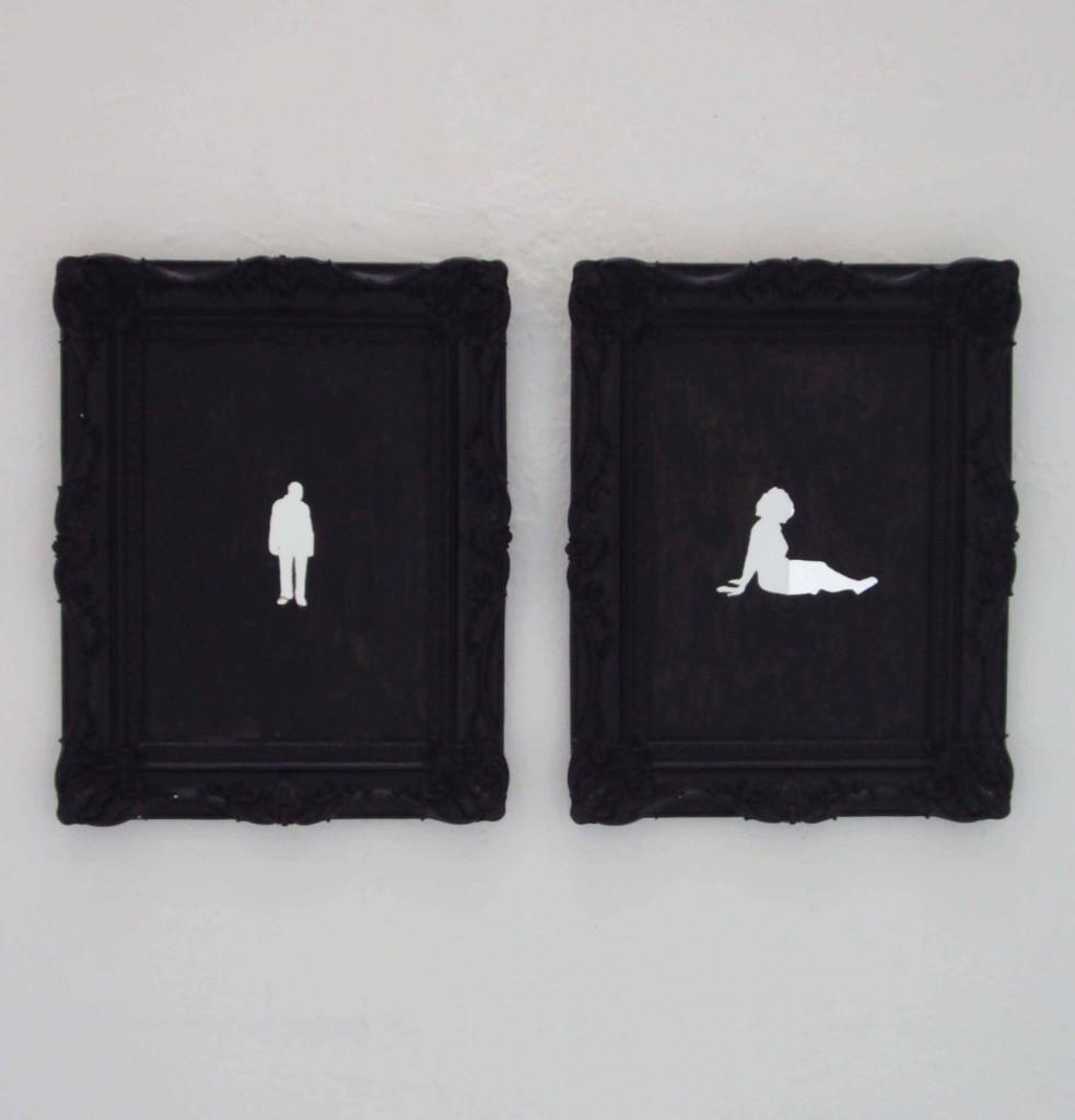 sans titre, technique mixte sur miroir, 55x45cm, 2012 (collection particulière)