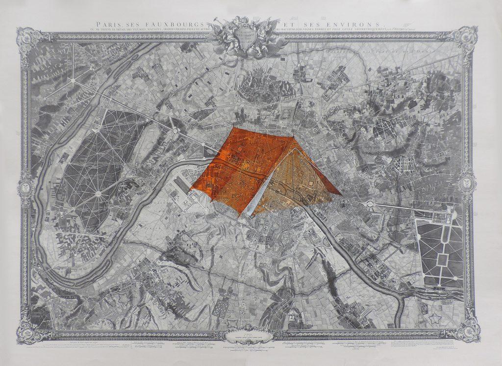 MANZIL I, encre, aquarelle et gouache sur papier imprimé, 111 x 167 cm, 2018