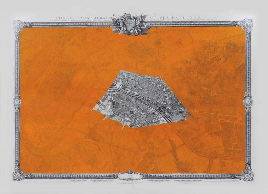 MANZIL II, encre, gouache et graphite sur papier imprimé, 111 x 167 cm, 2018